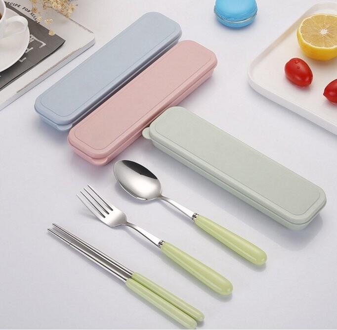 304 陶瓷不鏽鋼餐具組 三件套   不鏽鋼 筷子 湯匙 旅行 攜帶式 環保餐具