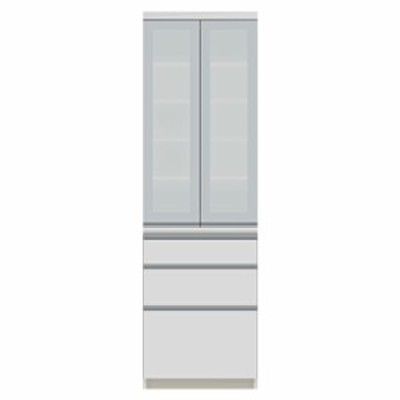 食器棚 パモウナ VI-S600K 【幅60×奥行45×高さ198cm】 パールホワイト ソフトクローズ仕様 引出し