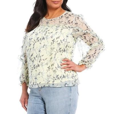 セセ レディース シャツ トップス Plus Size Long Sleeve Ruffled Floral Print Blouse