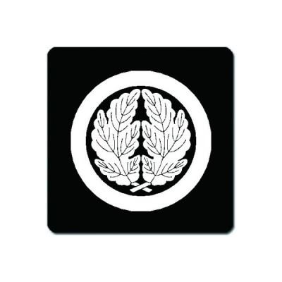家紋シール 白紋黒地 丸に抱き菊の葉 10cm x 10cm KS10-0786W