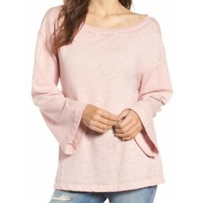 bell ベル ファッション トップス Treasure & Bond Womens Bell Sleeve Pink Size XS Boat Neck Sweater