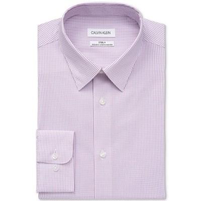 カルバンクライン シャツ トップス メンズ Calvin Klein Men's Steel Regular-Fit Non-Iron Stretch Performance Dress Shirt Berry