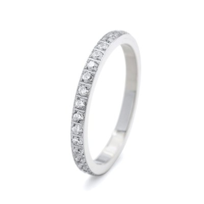 指輪 サージカルステンレス 一周ぐるりキュービックジルコニアのフルエタニティリング 爪留め 幅2.0mm 銀色 シルバー クリア  レディース メンズ