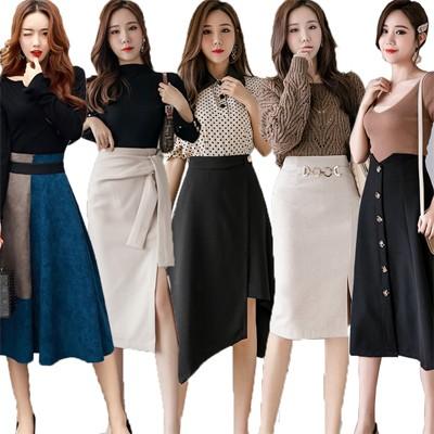 2枚+1枚/3枚+2枚/5枚+4枚  1/13新作追加  高品質で 韓国ファッション復古格子A字毛はロングスカート♫タイトスカート♫スカート 秋冬♫学院風プリーツスカート♫フレアスカート♫韓国風2セ