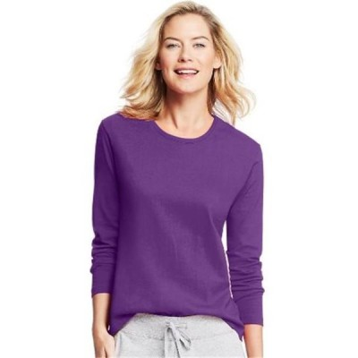 レディース 衣類 トップス O9133 Womens Long-Sleeve Crewneck T-Shirt Violet Splendor - 2XL Tシャツ