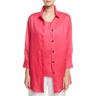 キャロライン ローズ レディース シャツ トップス Petite Tissue Linen Boyfriend Shirt