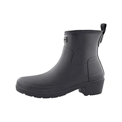 HUNTER Refined Low Heel Ankle Biker Rain Boots Black 8