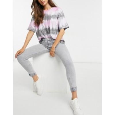 リバーアイランド レディース デニムパンツ ボトムス River Island Molly cuffed skinny jeans in acid gray Grey