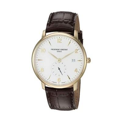 Frederique Constant メンズドレス腕時計 'SlimLine' スイスクォーツ ゴールド調 革製バンド ブラウン