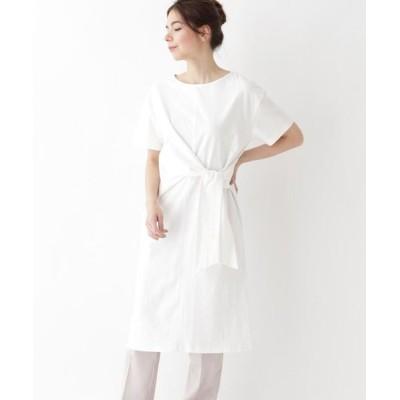 AG by aquagirl/エージー バイ アクアガール 【洗える】アシンメトリーリボンタイコットンTシャツワンピース オフホワイト(003) 38(M)
