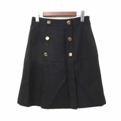 【中古】ボールジー BALLSEY トゥモローランド スカート 38 M 紺 ネイビー ウール ひざ丈 無地 シンプル ダブルボタン レディース