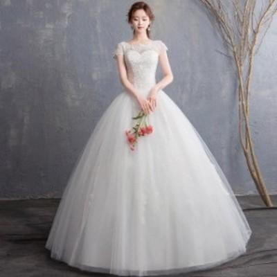 Aライン ウェディングドレス 袖あり ホワイトドレス レース チュール 花嫁 結婚式ドレス 大きいサイズ ブライダルドレス パニエ付き