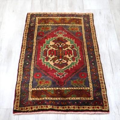 トライバルラグ・トルコ絨毯  101x56cm ヤストゥク 手織りヴィンテージラグ マニサ