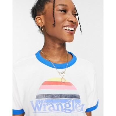 ラングラー Wrangler レディース Tシャツ ロゴTシャツ トップス Relaxed Ringer Tee With Graphic Logo In White ホワイト