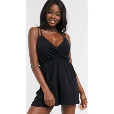 エイソス ASOS DESIGN レディース オールインワン ショート ワンピース・ドレス double cami strap wrap playsuit in black ブラック