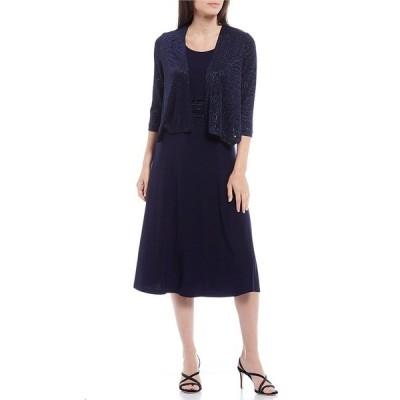 ジェシカハワード レディース ワンピース トップス Petite Size Matte Jersey Tonal Print 2-Piece Jacket Dress Navy