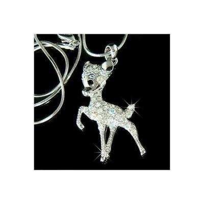 ネックレス インポート スワロフスキ クリスタル ジュエリー ~BAMBI DEER made with Swarovski Crystal Fawn Jewelry Necklace Cute Xmas Gift New