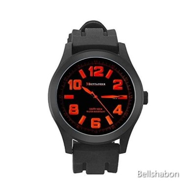 Mountaineer Mens Sport Watch Black Silicone Band Oversized Big Face Orange Numerals Reloj Hombre MN8041 並行輸入品