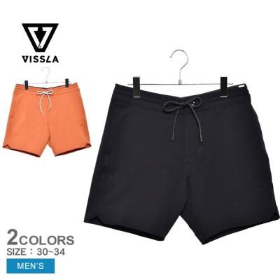 (ゆうパケット可) ヴィスラ ショートパンツ メンズ ショート セッツ 16.5 ボードショーツ VISSLA M126PSOL ブラック 黒 オレンジ ウエア パンツ