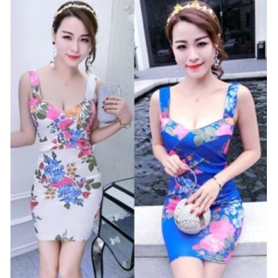 キャバドレス ミニドレス  キャバワンピ 綺麗で華やかな和柄プリントデザイン 胸元クロスデザイン タイトミニドレス キャバワンピース