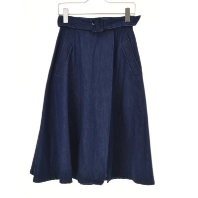 me couture / ミークチュール ベルト付きフレアロング デニムスカート
