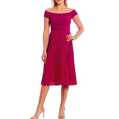 テッドベーカー レディース ワンピース トップス Reniqa Knit Cap Sleeve Pleated A-Line Midi Dress