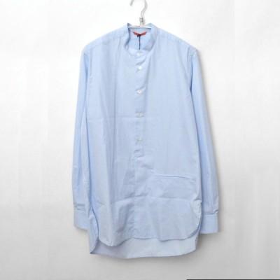 バレナ BARENA/2016SS/Half Placket Shirt  コットンポプリン バンドカラー プルオーバーロングシャツ/48/ブルー シップス購入 H367