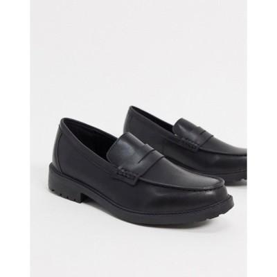 ルールロンドン メンズ スリッポン・ローファー シューズ Rule London Tyler chunky loafer in black