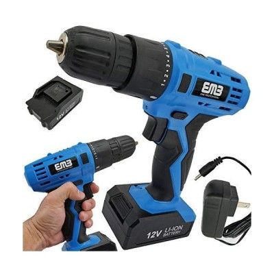 12 Volt Household Lithium Battery Cordless Drill Driver Power Drill Electric Drill with Charger 18-Position Clutch Adjustable Speed A 1300mA