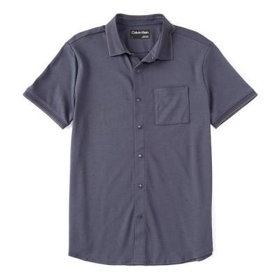 カルバンクライン メンズ シャツ トップス One-Pocket Short-Sleeve Knit Button-Down Shirt