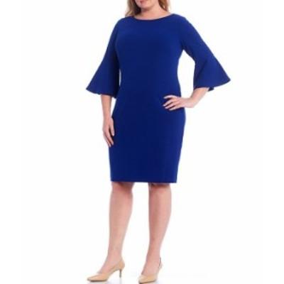 カルバンクライン レディース ワンピース トップス Plus Size Scuba Crepe Bell Sleeve Knee Length Sheath Dress Ultramarine