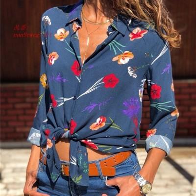 女性 長袖 ブラウス 春ターン ダウン 襟 オフィス シフォン シャツ ファッション 印刷ブラウスシャツ カジュアル Blusas Femininas トップス グループ上 レ
