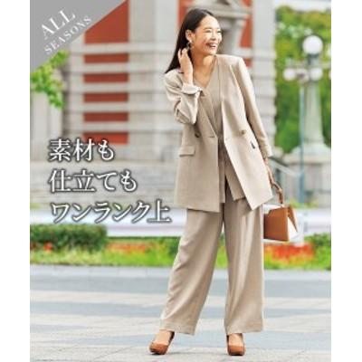 スーツ パンツ レディース Wブレスト ノーカラー 3点セット ジャケット +ジレ+ワイド ストレッチ素材 ネイビー/ベージュ S/M/L ニッセ