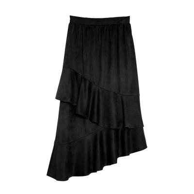 リエディ Re:EDIT ピーチスキン螺旋フリルスカート (ブラック)