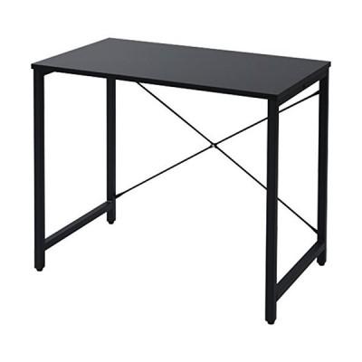 [山善] デスク 幅80奥行48高さ70cm シンプル 耐荷重60kg アジャスター付き 調度良い高さ 組立品 ブラック/ブラック