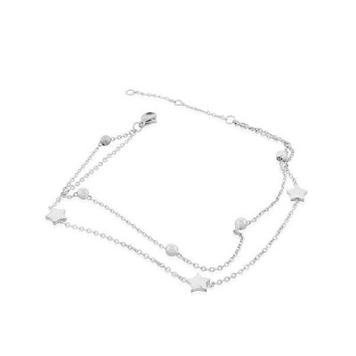 "EDFORCE Stainless Steel Silver-Tone Star Sphere Anklet Bracelet, 11""並行輸入品 送"