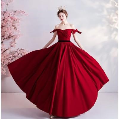 カラードレス ロングドレス 演奏会 発表会 コンサート パーティードレス ウエディングドレス 二次会 ドレス 花嫁ロングドレス 結婚式 赤 ステージ衣装