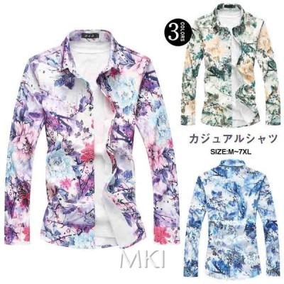 カジュアルシャツ 長袖 シャツ メンズ 花柄シャツ 長袖 ボタンダウン アロハシャツ メンズシャツ 金糸 大きいサイズ5XL 新作