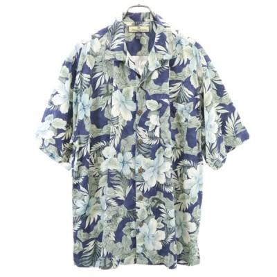トミーバハマ ハイビスカス柄 アロハシャツ M 紺系 Tommy Bahama 花柄 総柄 メンズ 古着 200717 メール便可