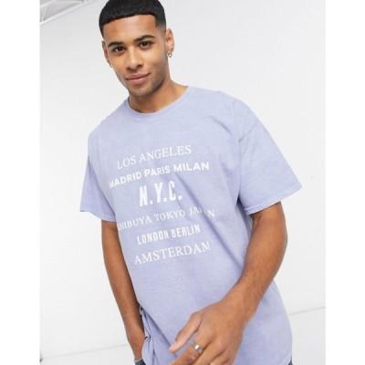 ニュールック New Look メンズ Tシャツ トップス t-shirt with city prints in blue wash ブルー