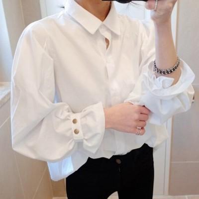 シャツ レディース ブラウス  カジュアルワイシャツ パフスリープ 無地 ゆったり シンプル 長袖 vネック通勤OL オフィス