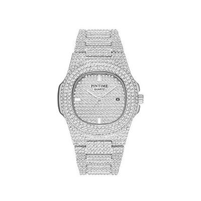 ラグジュアリー メンズ/レディース ユニセックス クリスタルウォッチ キラキラ アイスアウト 腕時計 長方形 シルバー/ゴールド 腕時計 ファッション