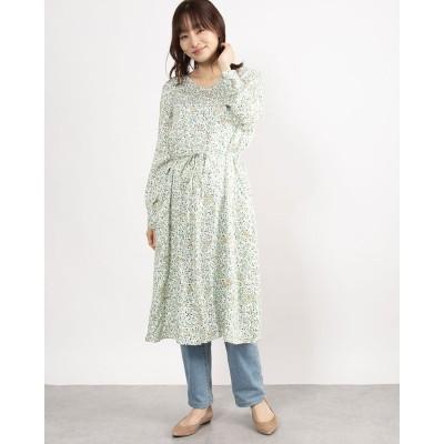 カンカン KANKAN リーフ&バードプリントドレス (ホワイト)