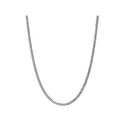 Solid 14K White Gold 3.9mm Flat Beveled Curb Cuban Chain Necklace - with Se