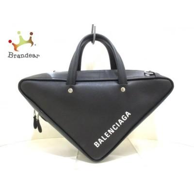 バレンシアガ BALENCIAGA ハンドバッグ 美品 トライアングル ダッフル S 476975 黒×白 レザー  値下げ 20200818