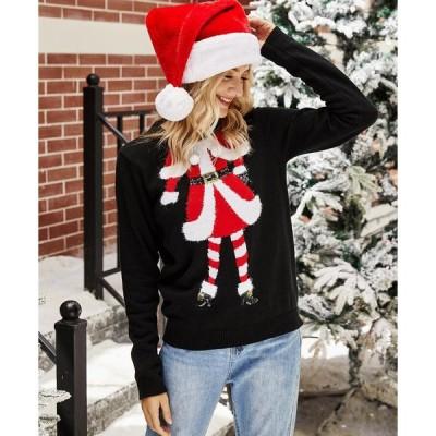 ニットセーター クリスマス風 秋冬ニットセーター 個性的 レディースセーター 薄手 クリスマスプレゼント サンタクロース柄 ブラック S M L XL