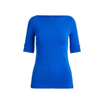 LAUREN RALPH LAUREN T シャツ ブライトブルー L コットン 94% / ポリウレタン 6% T シャツ