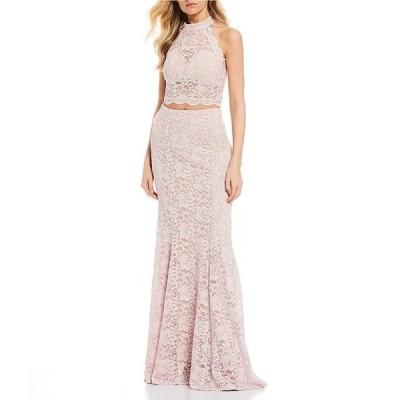 シークインハーツ レディース ワンピース トップス Mock Neck Glitter Lace Two-Piece Long Dress