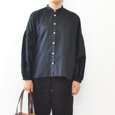 SETTO セット アームギャザーシャツ ARM GATHER SHIRT STL-SH041 レディース ブラウス バンドカラーシャツ 長袖  Aライン ギャザー ボリューム袖 日本製