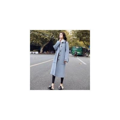 ピーコートレディースコートダッフルコートロングコートジャケットチェスター折り襟アウター無地秋冬新作体型オーバーファッション